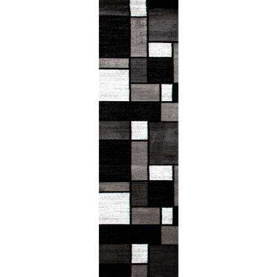 Contemporary Modern Boxes 106 Gray Indoor 2 ft. x 7 ft. Area Runner Rug