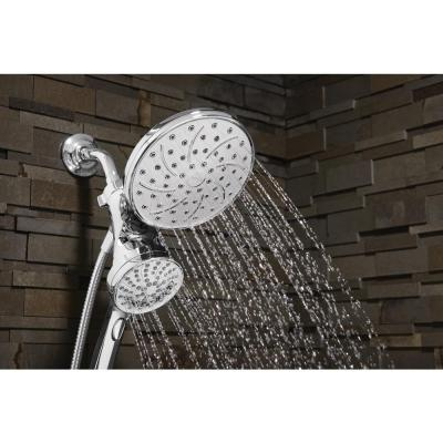 Attract with Magnetix 6-spray 6.75 in. Dual Shower Head and Adjustable Handheld in Chrome (Mounting Hardware Included)