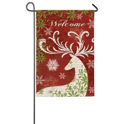 18 in. x 12.5 in. Christmas Deer Silhouette Garden Sub Suede Flag