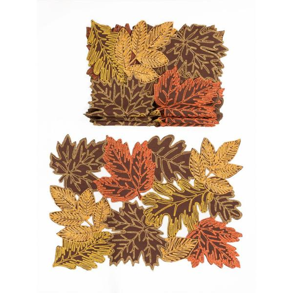 0.1 in. H x 20 in. W x 14 in. D Autumn Leaves Embroidered Cutwork Placemats in Brown (Set of 4)