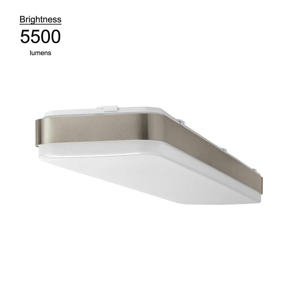 Hampton Bay 4 ft. x 1ft. Brushed Nickel Bright/Cool White Rectangular LED Flushmount Ceiling Light Fixture Dimmable