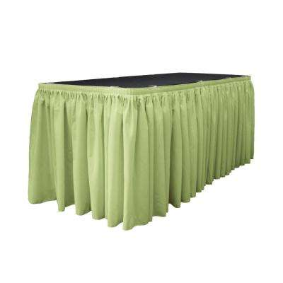 21 ft. x 29 in. Long Sage Polyester Poplin Table Skirt with 15 L-Clips