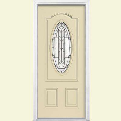 36 in. x 80 in. Chatham 3/4 Oval Lite Right-Hand Inswing Painted Smooth Fiberglass Prehung Front Door w/ Brickmold