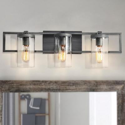 3-Light Gray Geometric Seeded Glass Bathroom Sconces Vanity Bath Light