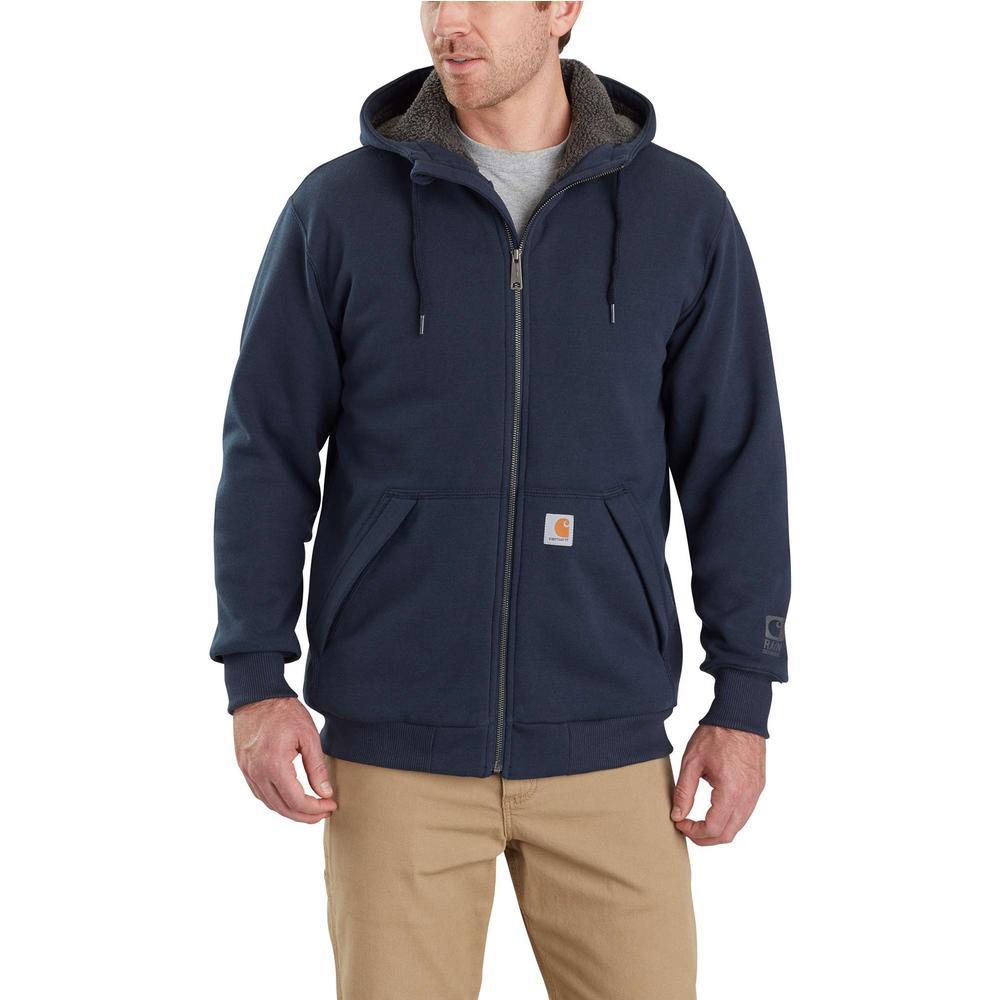 Carhartt Mens Big /& Tall Rain Defender Rutland Lined Hooded Zip Sweatshirt