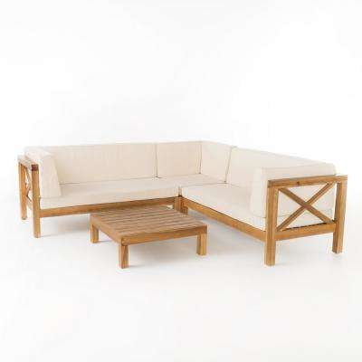Brava Teak 4-Piece Wood Outdoor Sectional Set with Beige Cushions