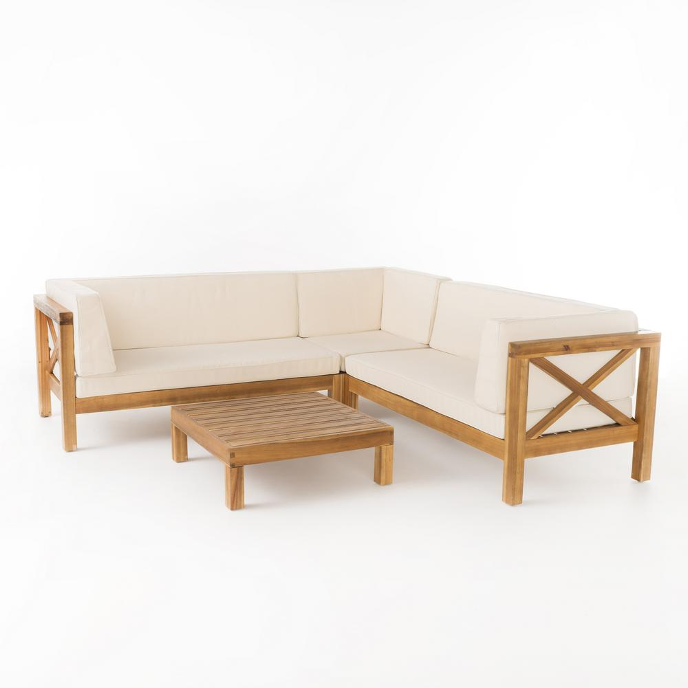 Noble House Brava Teak Finish 4 Piece Wood Outdoor Sectional Set With Beige Cushions