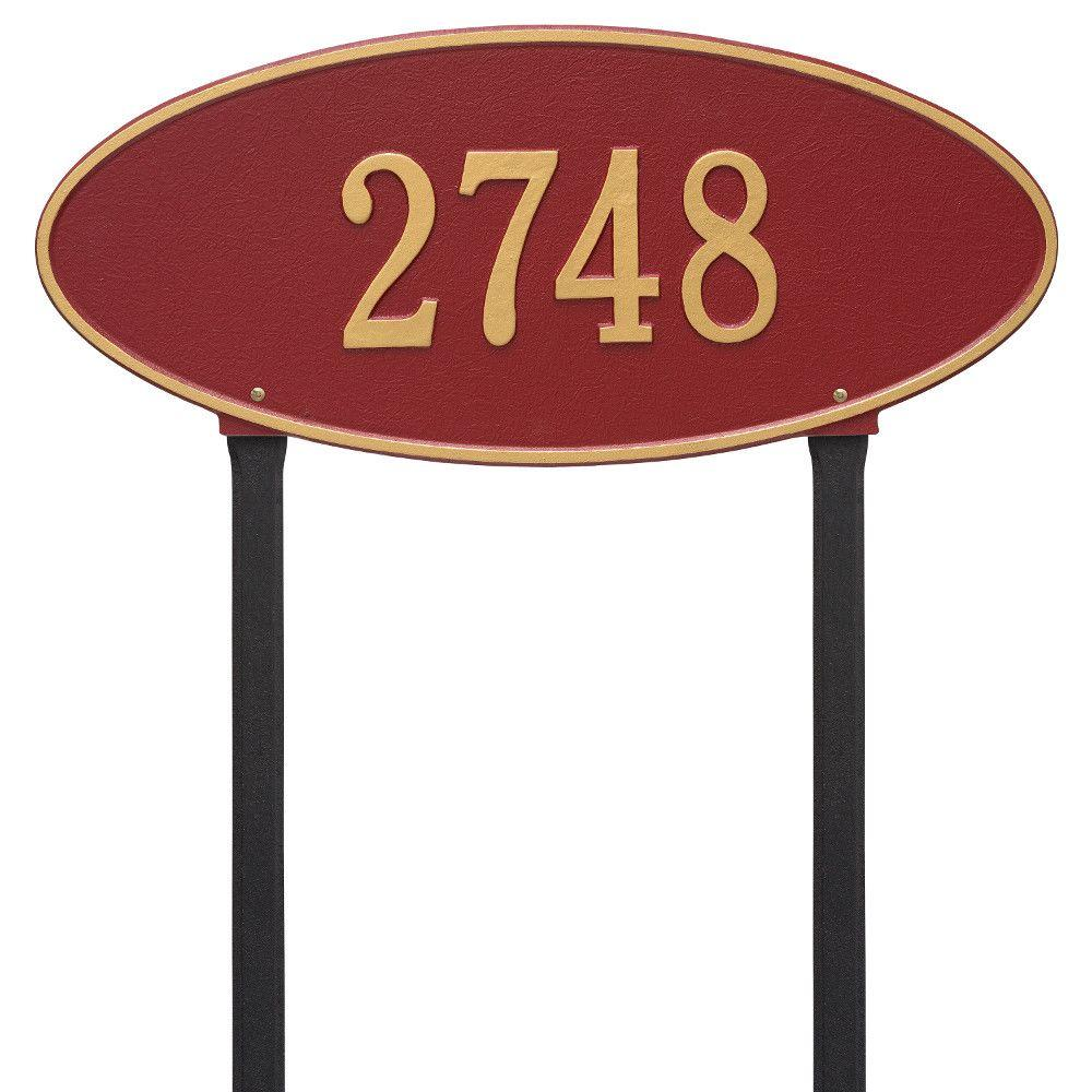Whitehall Products Madison Estate Oval Red/Gold Lawn 1-Line Address Plaque