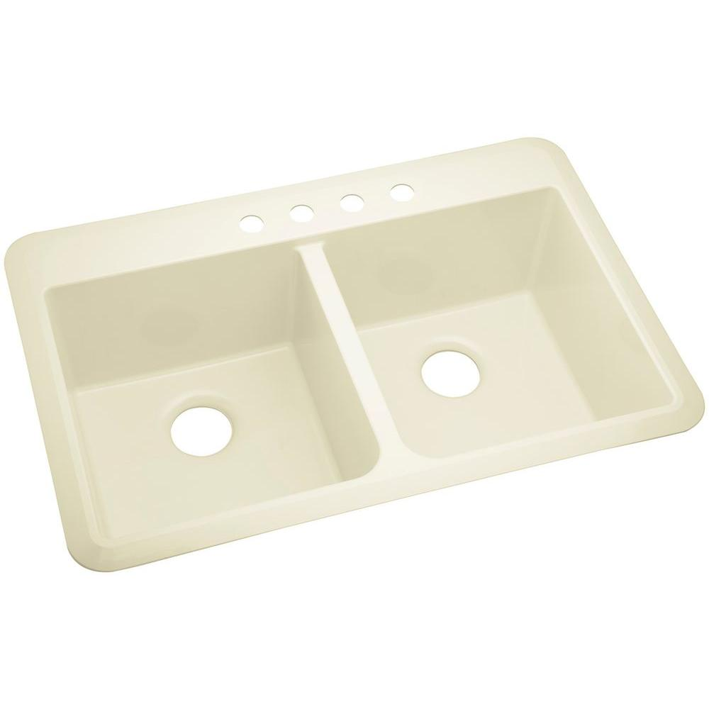 STERLING Slope Drop-in Vikrell 33 in. 4-Hole Double Bowl Kitchen ...