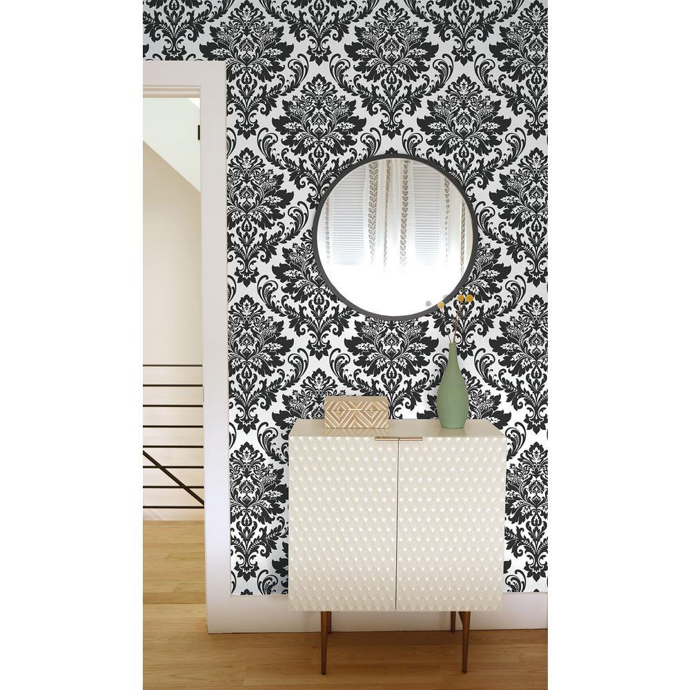 Black Damask Peel and Stick Wallpaper 30.75 sq. ft.