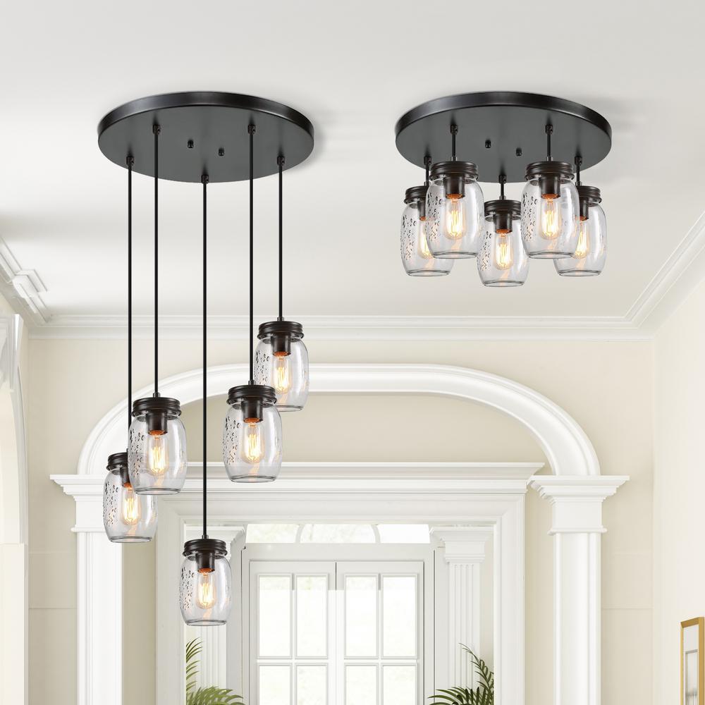 Zook DIY Farmhouse Chandelier 5-Light Bronze Adjustable DIY Mason Jar Light Cluster Glass Pendant Light