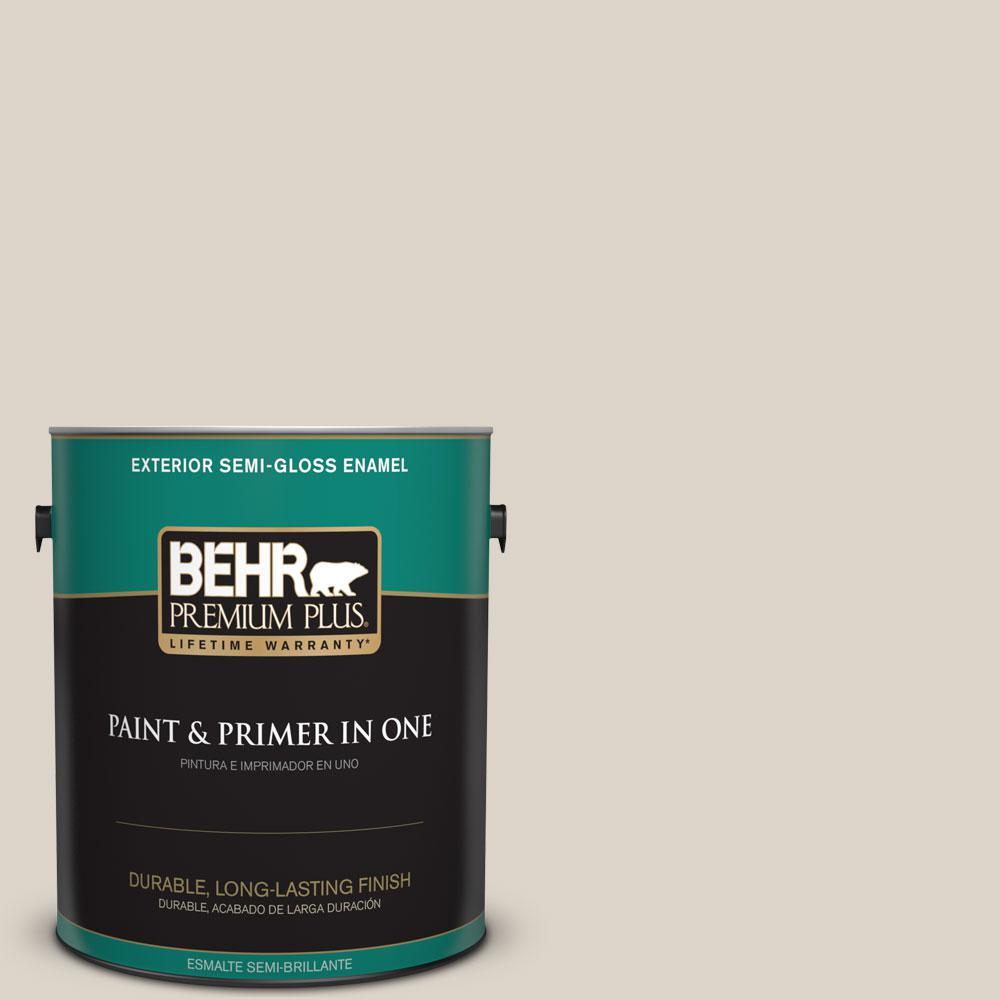BEHR Premium Plus 1-gal. #OR-W6 Coconut Ice Semi-Gloss Enamel Exterior Paint