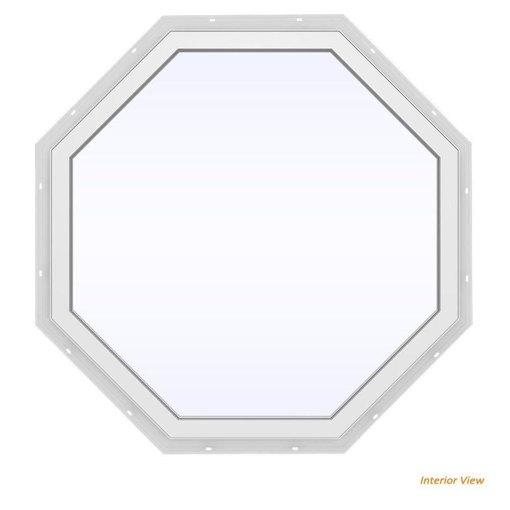 JELD-WEN 35.5 in. x 35.5 in. V-4500 Series Black Painted Vinyl Fixed Octagon Geometric Window w/ Low-E 366 Glass
