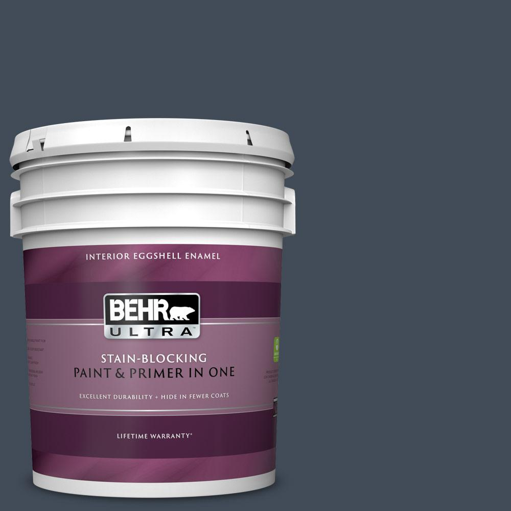 Behr Ultra 5 Gal Ppf 58 Dark Night Eggshell Enamel Interior Paint And Primer In One 275305 The Home Depot