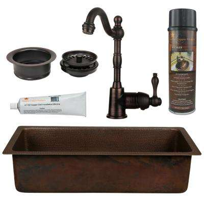 All-in-One Dual Mount Copper 28 in. Single Bowl Bar/Prep Sink with Faucet in Oil Rubbed Bronze