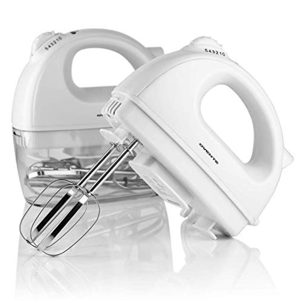Ovente 5-Speed 200-Watt White Hand Mixer Stainless Steel Chrome Beaters & Free Snap-On Case Bake Your Own Confectionery Masterpieces If you are an occasional home chef or a hobby baker, you might have thought that a stand mixer is too pricey to shell out money for. Also, your counter space might be too precious for you for it to be sacrificed for such a bulky machine. Now, youre left with no choice: You stir the sugar cookie dough by hand, whisk heavy creams until your arms ached, and whip the egg whites into meringues for almost an hour. Good news, the Ovine Electric Hand Mixer HM161 Series can handle all of those tasks and some more for you. It is a lightweight, electric handheld mixer at a significantly lower price point, and it can whip a lot of recipes into shape just like other stand mixers do from mashed potatoes, cinnamon butters, soft chocolate chip cookies, and more. Made for Light and Heavy Mixing Tasks Need a tool for blending both light and heavy mixes? This one can handle both. Its motor runs on 200W and its stainless steel chrome beaters are perfect for whipping up cheesecakes, batter rolls, and other fun treats. Ultra Versatile Kitchen Hand Mixer This one has 5 mixing speeds, enough to cover a wide variety of mixing work. You can adjust the speed of the hand mixer using its convenient speed switch. Easy to Clean Cleaning and storing the mixer and all its attachments are a breeze. The beaters and Snap-On case are dishwasher safe.