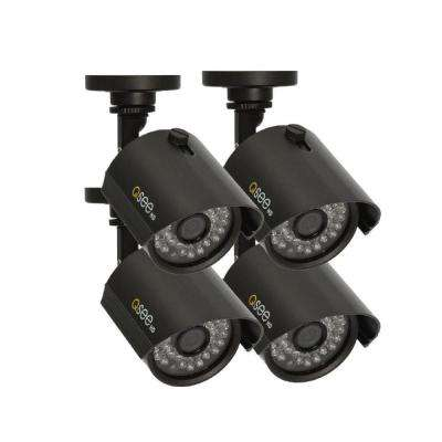 Wired 720p Indoor or Outdoor HD Bullet Standard Surveillance Camera with 100 ft. Night Vision (4-Pack)