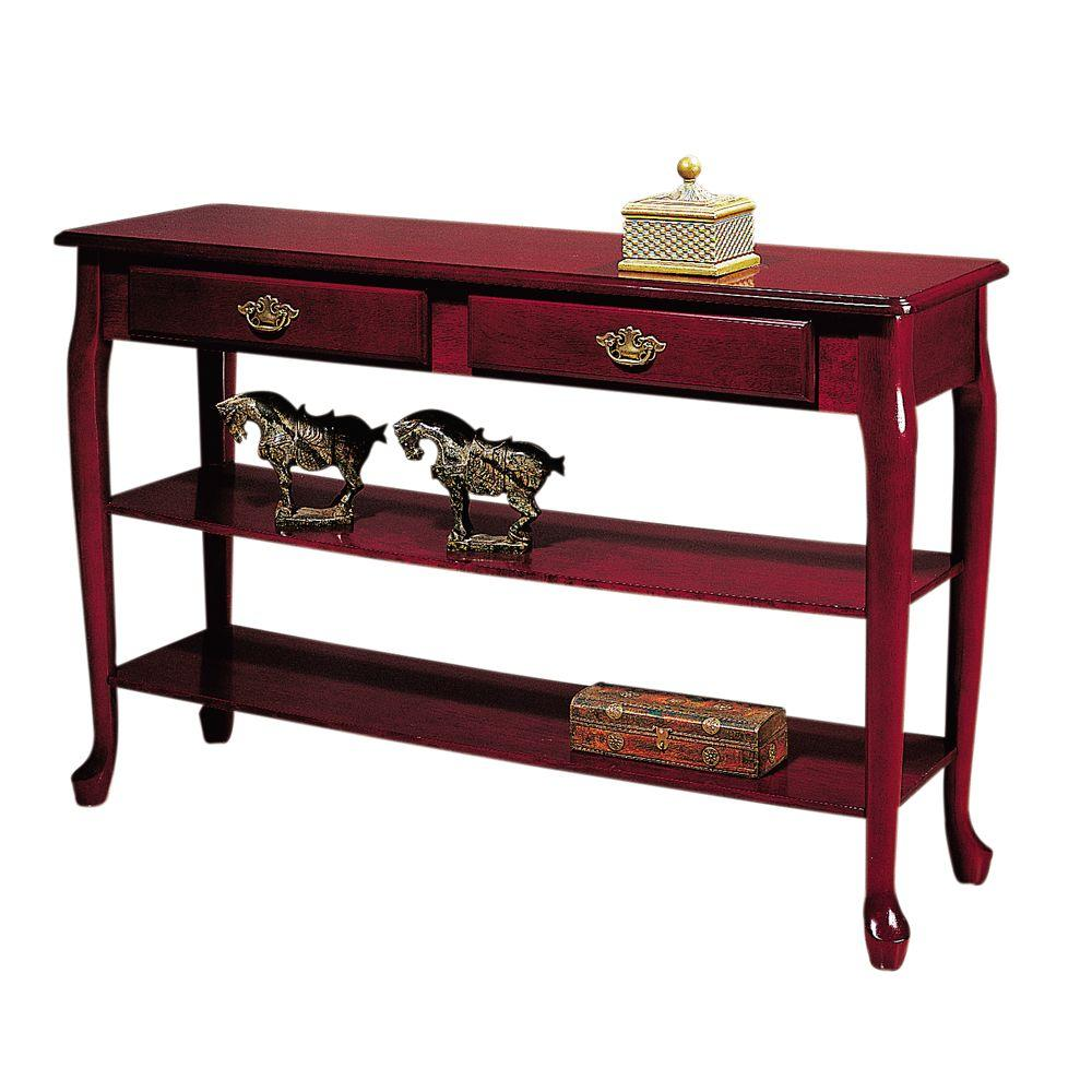 Home Decorators Collection 47 in. W Traditional Mahogany Two-Shelf Console Table