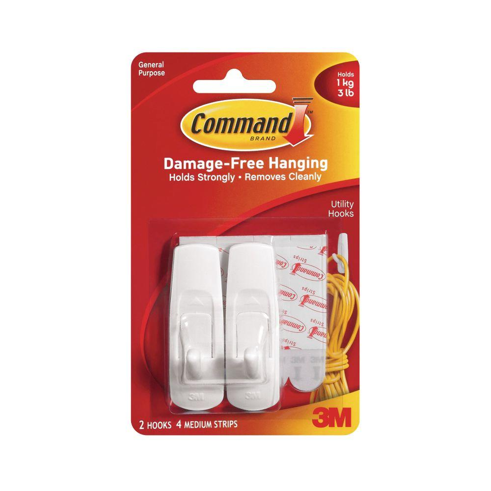 Command 3 lbs. Plastic Medium Hooks (2-Hooks, 4-Strips)