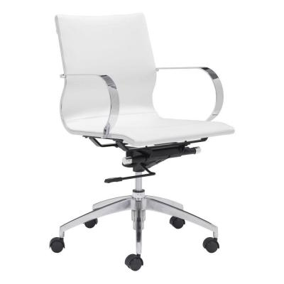 Glider White Leatherette Low Back Office Chair