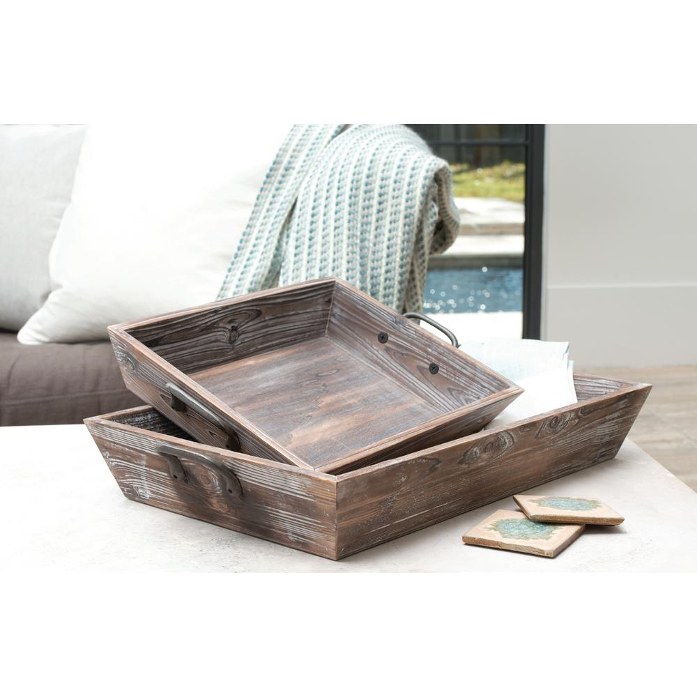 Titan Lighting Americana 27 in. x 16 in and 20 in. x 13 in. Deep Decorative Trays in Antique Palonia and Canyon Rustic (Set of 2), Antique Paliona/ was $112.5 now $78.75 (30.0% off)