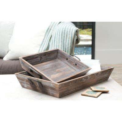 Americana 27 in. x 16 in and 20 in. x 13 in. Deep Decorative Trays in Antique Palonia and Canyon Rustic (Set of 2)