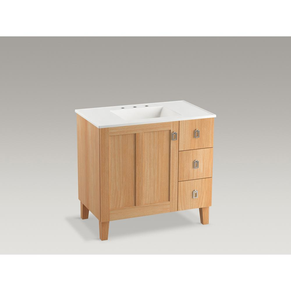 KOHLER Poplin 36 in. W Vanity Cabinet in Khaki White Oak with Vitreous China Vanity Top in White Impressions with Basin