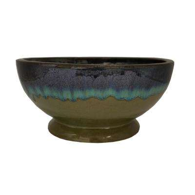 12 in. Dia Assorted Color Ceramic Caspian Bowl Planter
