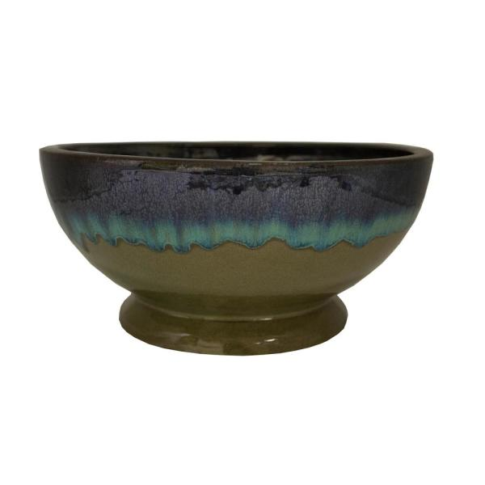 12 in. Dia Caspian Multi-Color Ceramic Bowl Planter