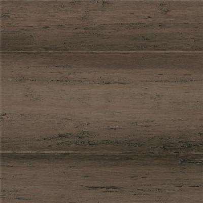 Hand Scraped Strand Woven Warm Grey 3/8 in. T x 5-1/8 in. W x 72-7/8 in. L Engineered Click Bamboo Flooring