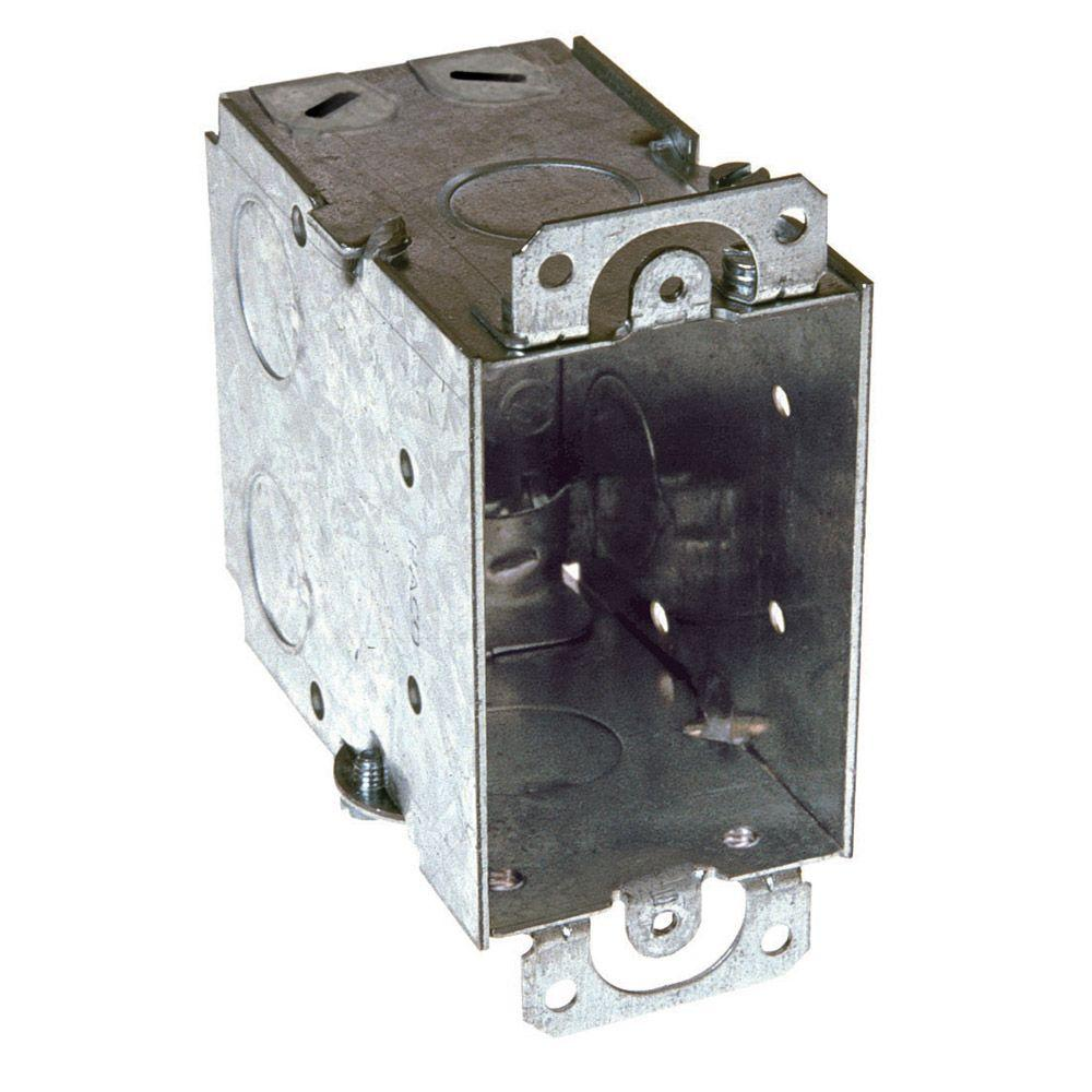 3-1/2 in. Deep Gangable Switch Box with NMSC Clamps and Plaster