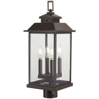 Miner's Loft 4-Light Oil Rubbed Bronze Outdoor Post Mount with Gold Highlights