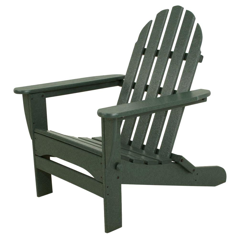 Ivy terrace classics green plastic patio adirondack chair ivad5030gr the home depot - Green resin adirondack chairs ...