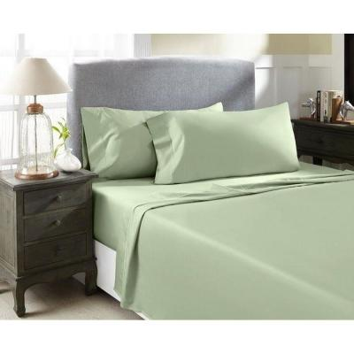 Hotel Concepts 4-Piece Celedon Solid 1000 Thread Count Cotton King Sheet Set