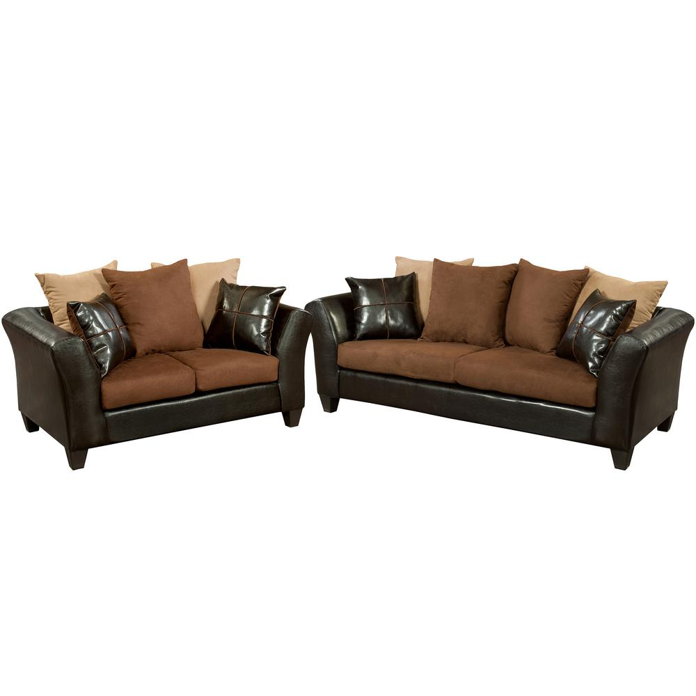 Flash furniture riverstone 2 piece sierra chocolate - Microfiber living room furniture sets ...