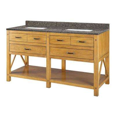 Avondale 61 in. W x 22 in. D Vanity in Weathered Pine with Granite Vanity Top in Sircolo with White Sink