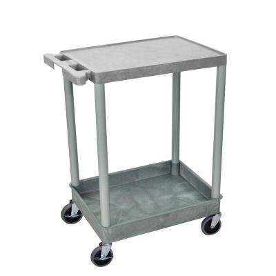 STC 24 in. 2-Shelf Utility Cart in Gray