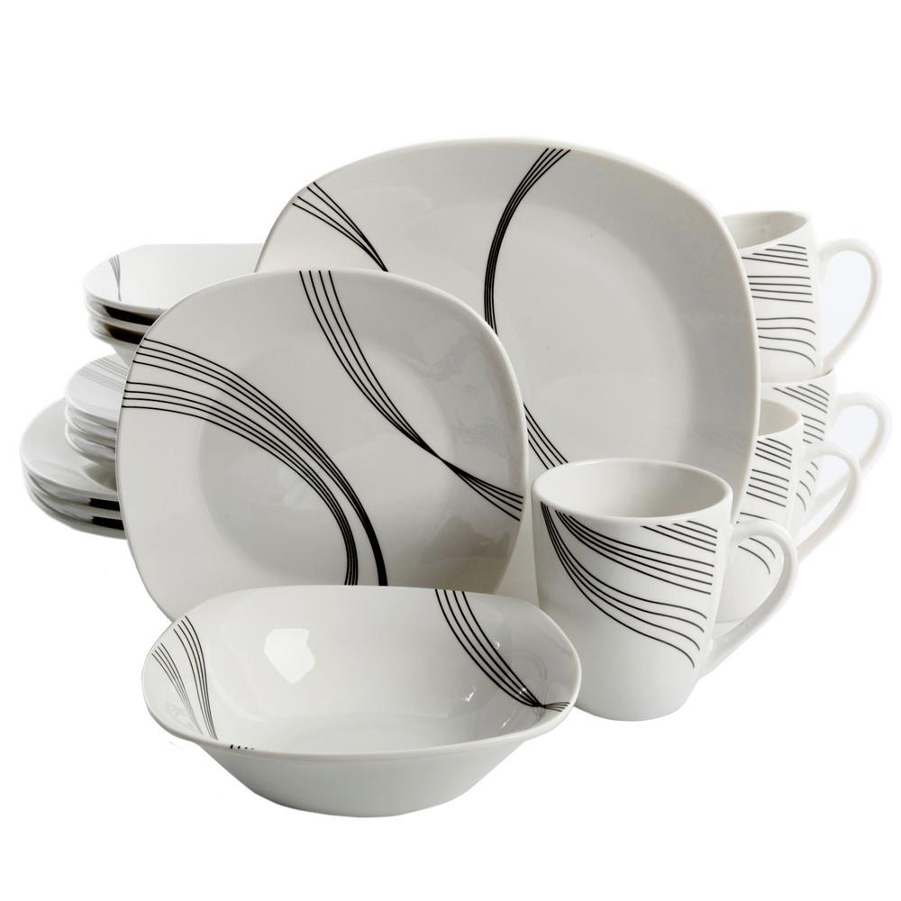 Gibson Home Curvation 16-Piece White Dinnerware Set