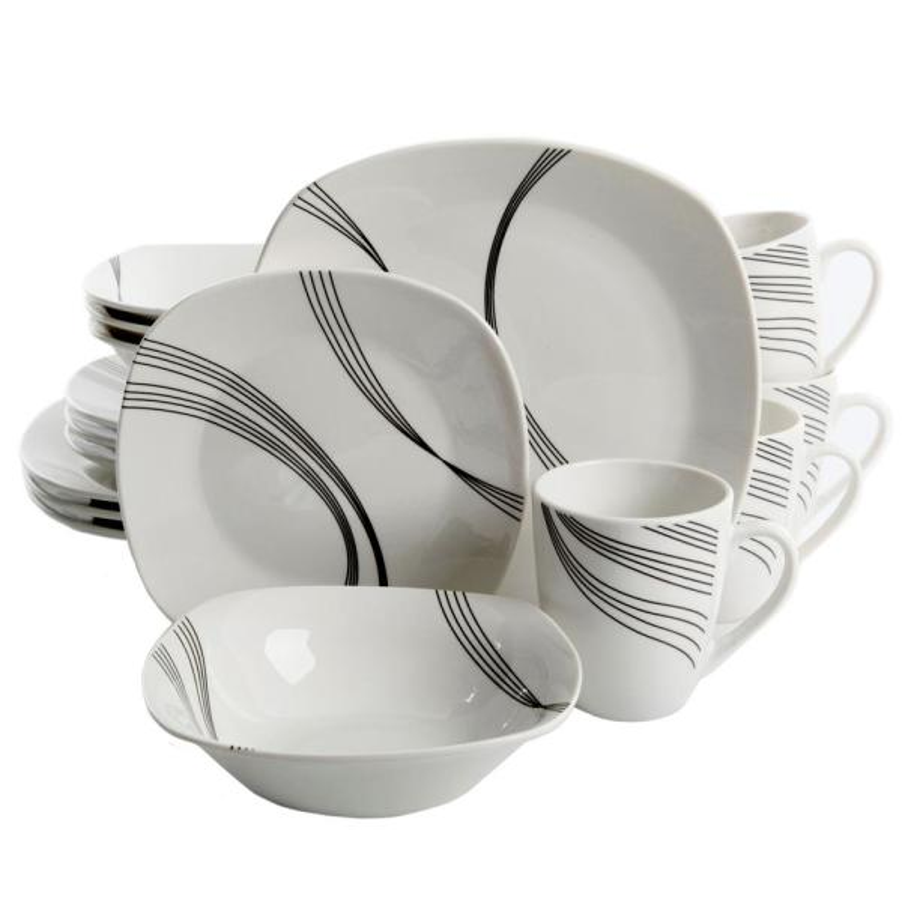 Gibson Home Curvation 16-Piece White Dinnerware Set 98599949M