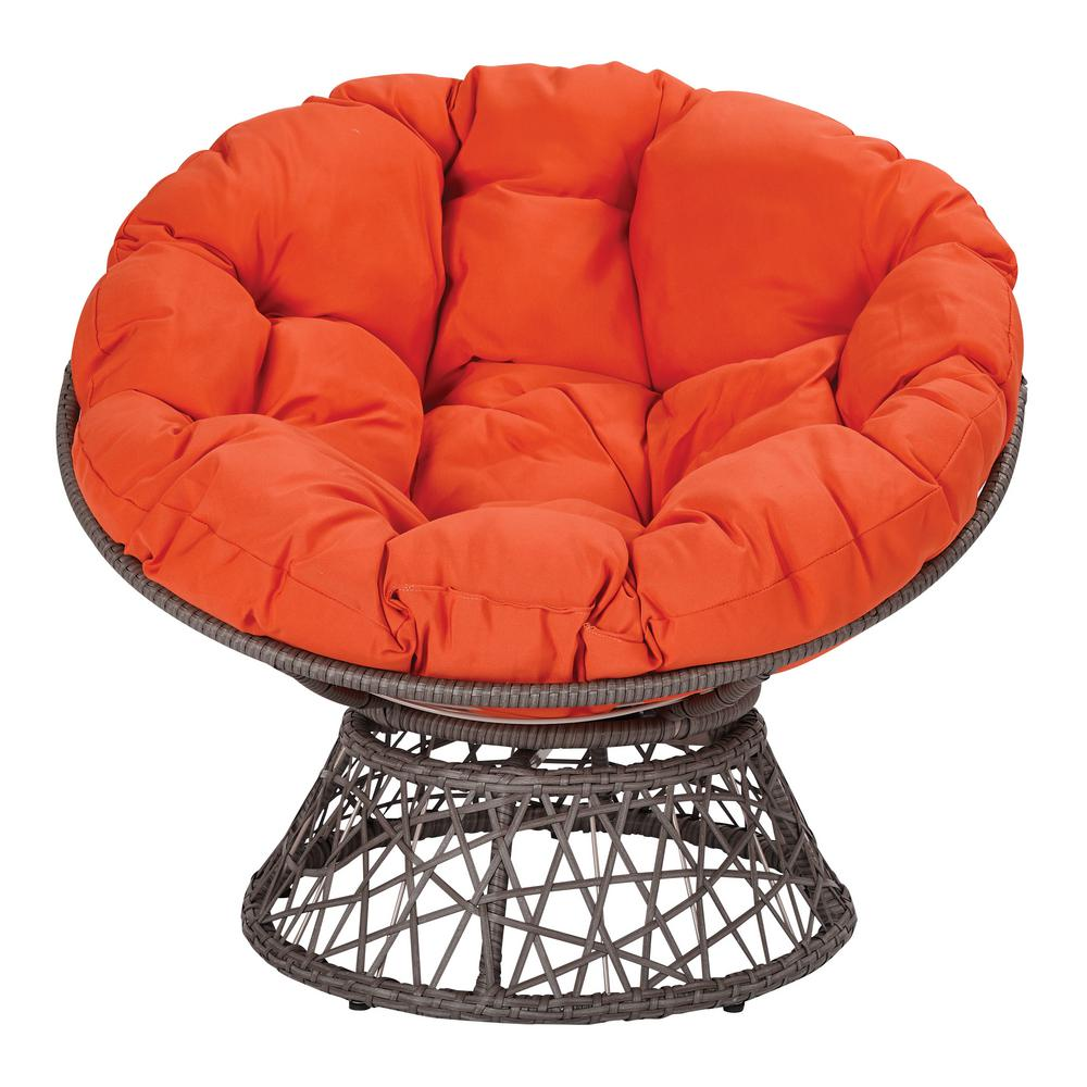Osp Home Furnishings Papasan Chair With Orange Round Pillow Top Cushion And Grey Frame Bf25292 18 The Home Depot