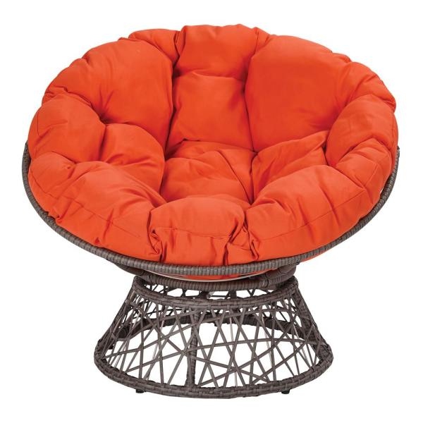 Papasan Chair with Orange Round Pillow-Top Cushion and Grey Frame