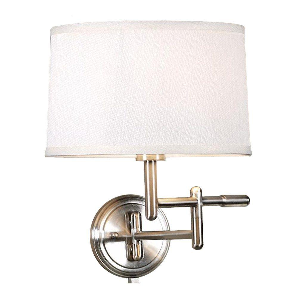 Home Decorators Collection 1-Light Brushed Steel Wall Pivoter Swing-Arm Lamp