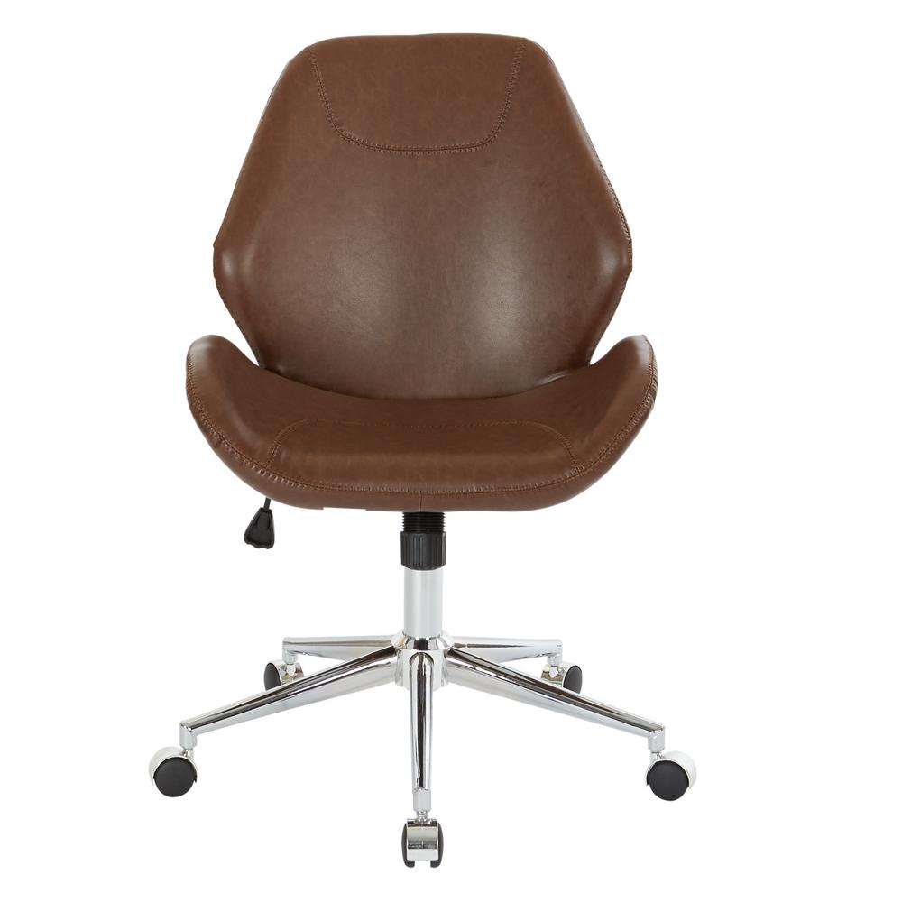 Ave Six Chatsworth Saddle Faux Leather Office Chair With Chrome Base