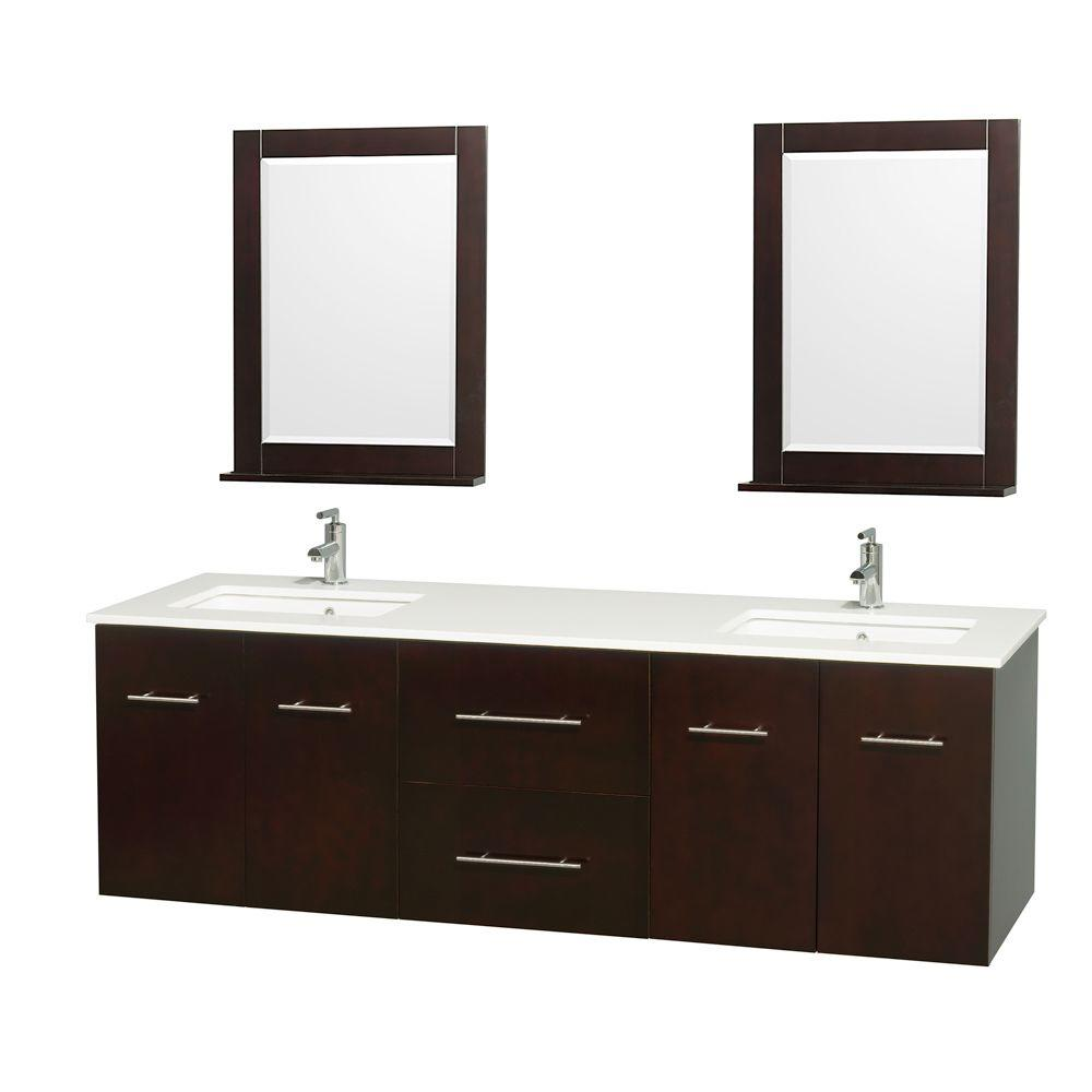 Centra 72 in. Double Vanity in Espresso with Man-Made Stone Vanity