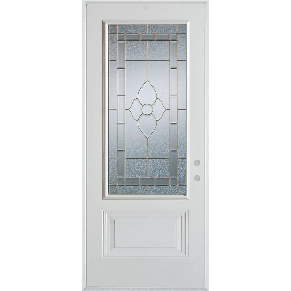 36 in. x 80 in. Traditional Brass 3/4 Lite 1-Panel Prefinished