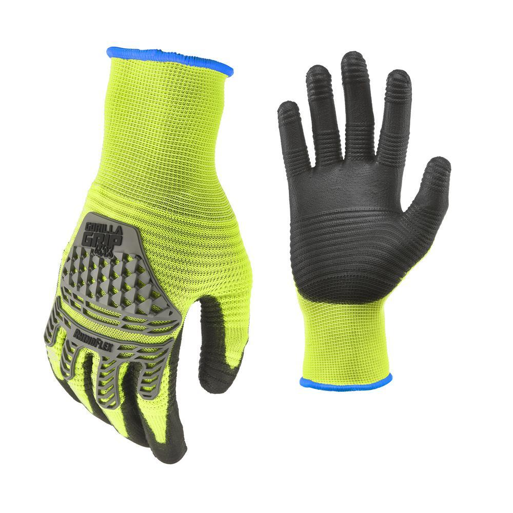 GORILLAGRIP GORILLA GRIP RhinoFlex Impact Large Gloves, Adult Unisex, Yellow
