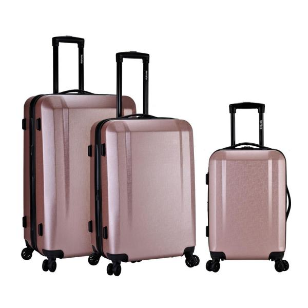 Kensie 3-Piece Hardside Vertical Rolling Luggage Set with Combination USB/Drink