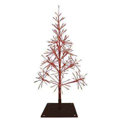 53 in. Festive Red Christmas Tree with Warm White LED Lights
