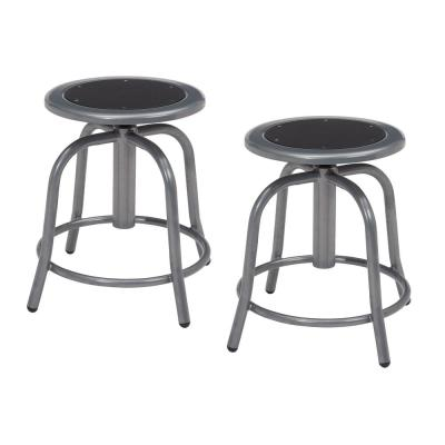 18 in. to 25 in. Height Black Seat and Grey Frame Adjustable Swivel Stool (2-Pack)