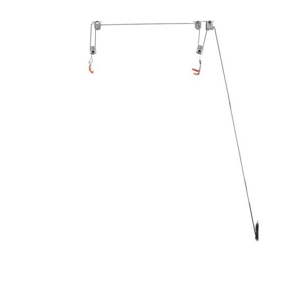 28 in. D x 18 in. H x 26 in. W 4-Hook Single Bike Ceiling Hoist
